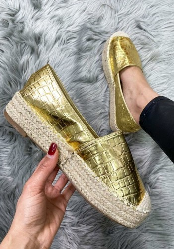 Faye Metallic Gold Faux Leather Croc Print Espadrilles