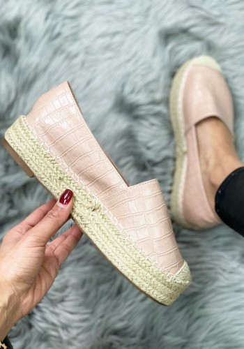 Faye Baby Pink Faux Leather Croc Print Espadrilles