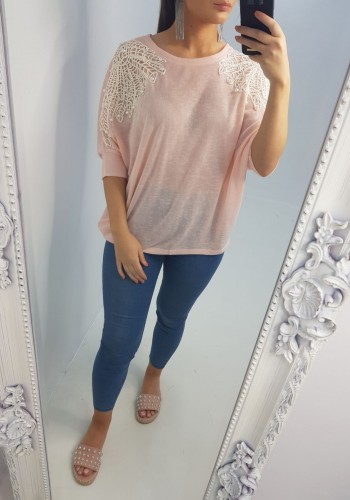 Gail Crochet Pearl Shoulder Batwing Top