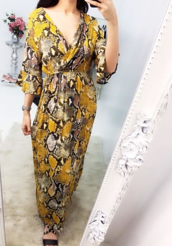 Figi Snake Print Wrap V-neck Flowy Maxi Dress