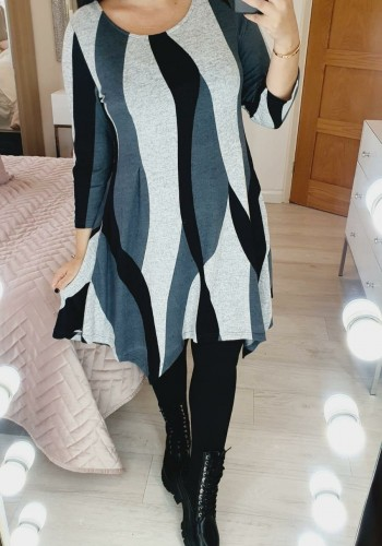 Florence Multi Grey Printed Drape Side Knitted Dress