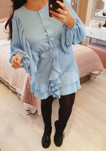Fonda Ruffle Belt Detailed Chiffon Bell Sleeve Swing Dress