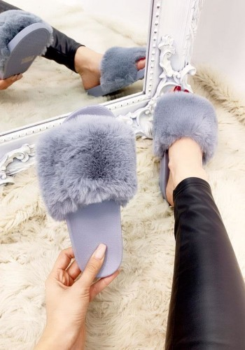 Florella Faux Fur Fluffy Sliders