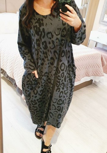 Freyda Leopard Pocket Sweatshirt Style Midi Dress