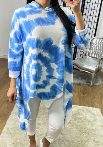 Geneva Oversized Drape Detailed Tie Dye Hooded Sweatshirt