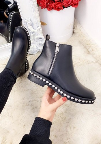 Genie Black Faux Leather Diamante Zip Chelsea Boots