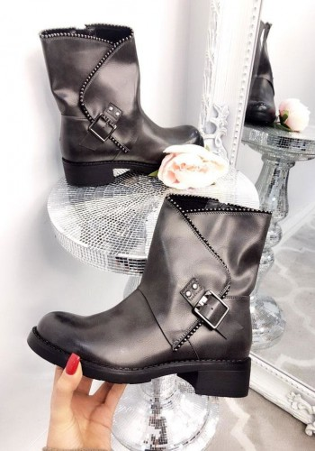 Grecia Buckle Faux Leather Boots
