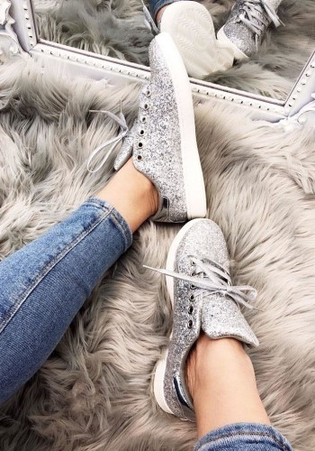 Hannah Glitter Detailed Lightweight Lace Up Trainers