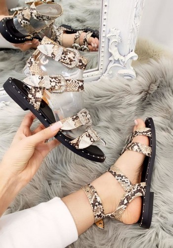 Hanny Snake Print Buckle Detailed Stud Sandals