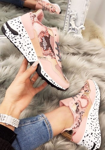 Harper Snake Print Speckled Sole Trainers