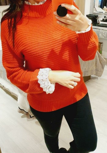 Holland Ribbed Crochet Lace Turtle Neck Detailed Knit Jumper