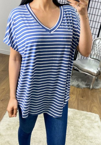 Hugo Striped Floaty V-neck Basic T-shirt