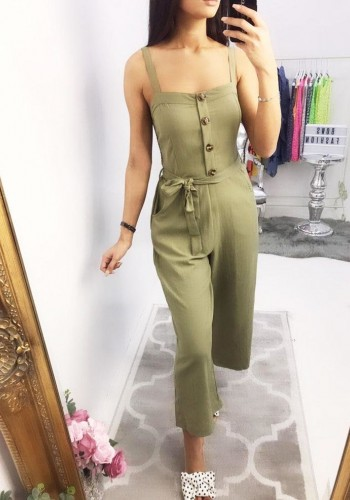 Ileana Plain Button Front Jumpsuit