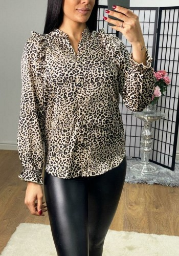 Cely Leopard Print Ruffle Blouse