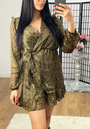 Janella Khaki Glitter Detailed Frill Printed Wrap Dress
