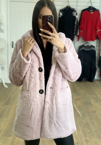 Amilie Faux Fur Hooded Button Detail Oversized Coat
