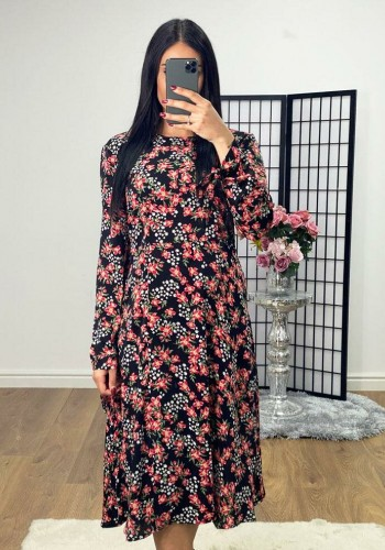 Lilyth Floral Print Midi Swing Dress