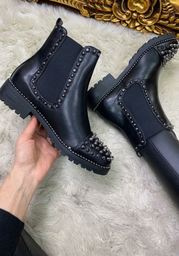 Safeena Black Faux Leather Studded Biker Boots