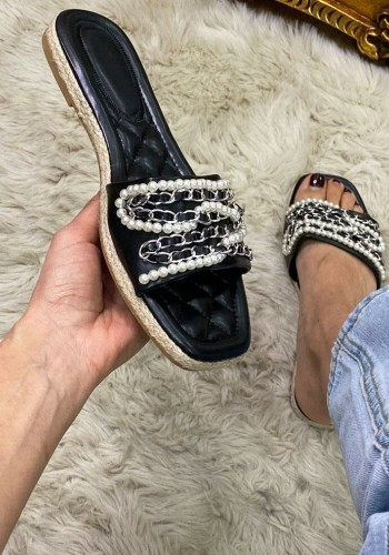 Teags Pearl Chain Faux Leather Detailed Sandals