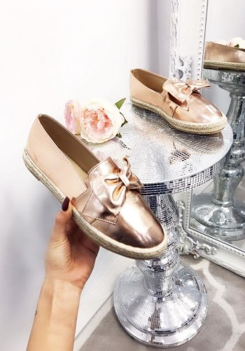 Andrina metallic knotted bow espadrille pump