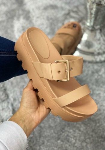 Isla Nude Chunky Strappy Buckle Detailed Gladiator Sliders