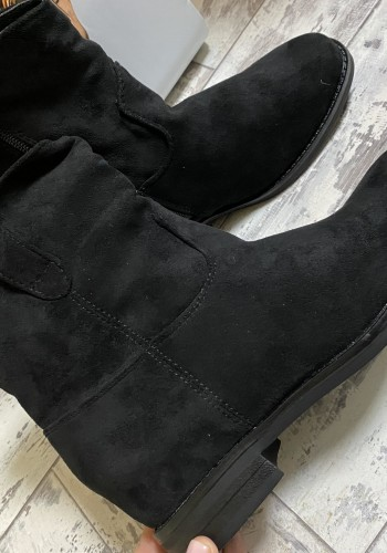 Flynn Faux Suede Rouched Ankle Boots