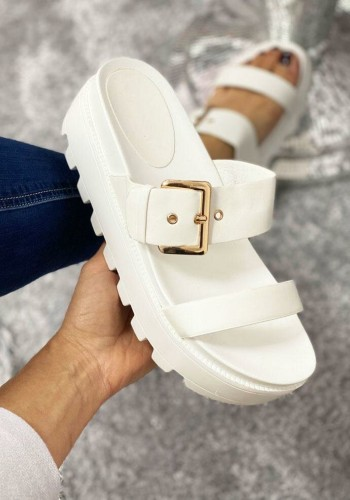 Isla White Chunky Strappy Buckle Detailed Gladiator Sliders