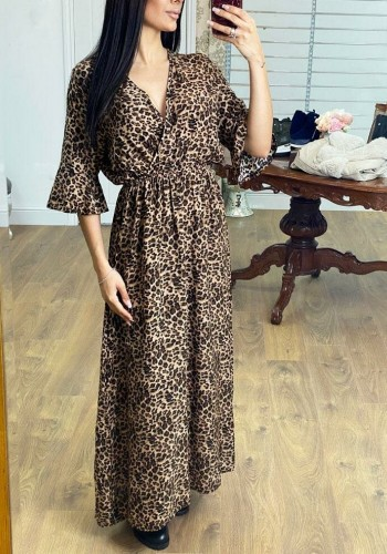 Dyme Cheetah Print Wrap Flowy Maxi Dress