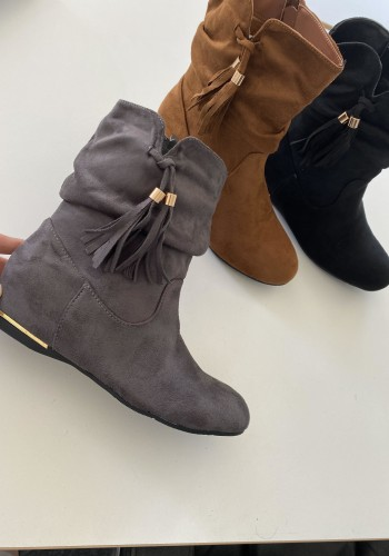 Akito Faux Suede Tassel Detailed Boots