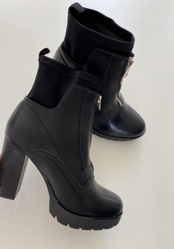 Krissie Faux Leather Zip Detail Chunky Heel Boots