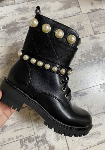 Ripley Pearl Faux Leather Strappy Biker Boots