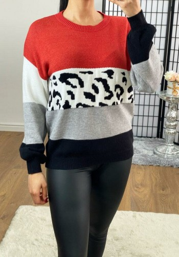Percy Rust Oversized Leopard Print Knitted Jumper