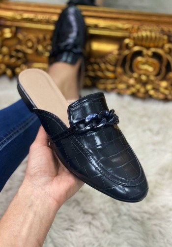 Dame Croc Patent Chain Detailed Loafers