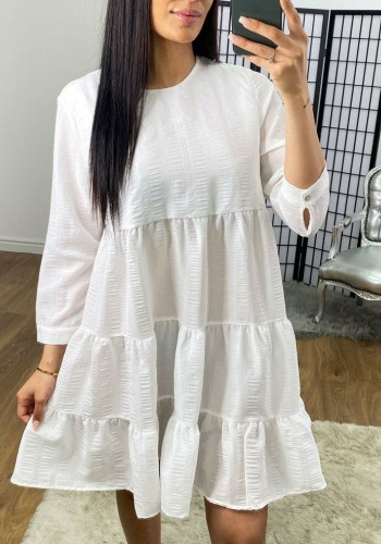 Sabre Ribbed Texture Tiered Smock Dress