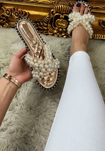 Bellah Pearl Stud Detailed Slip On Sandals