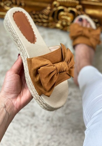 Cassie Faux Suede Knotted Bow Espadrille Sliders