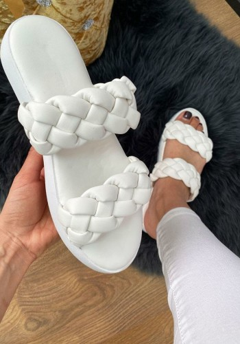 Hollie White Plaited Strap Faux Leather Sliders