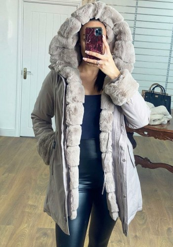 Jaya Mink Faux Fur Hooded Toggle Coat