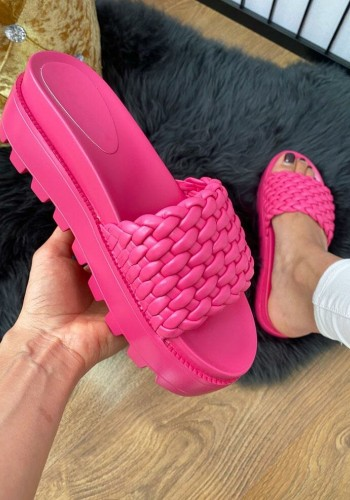 Neve Fuchsia Woven Faux Leather Chunky Sliders