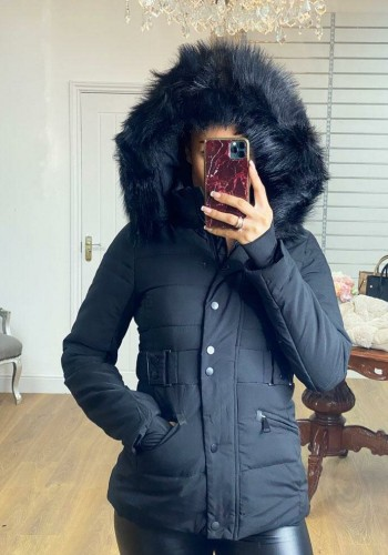 Vivia BLACK Padded Faux Fur Hooded Coat