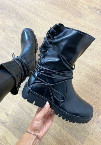 Ivy Black Faux Leather Tie Chunky Biker Boots