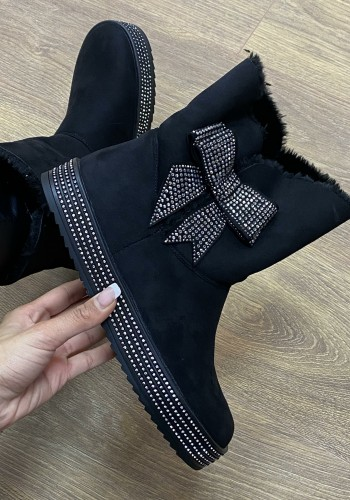 Melcie Black Faux Suede Diamante Bow Detailed Boots
