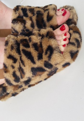Codie Leopard Faux Fur Chunky Sling Back Sliders