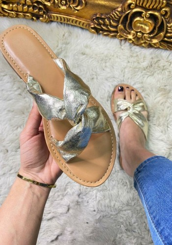 Helen Metallic Twist Strap Detail Sliders