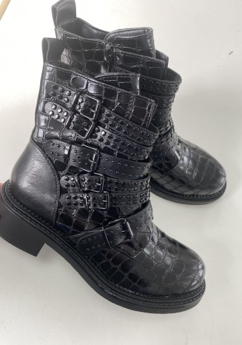 Harlise Black Croc Print Faux Leather Studded Strappy Boots
