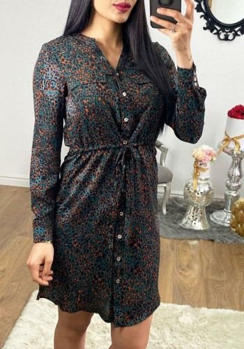 Vesper Polka Printed Tie Waist Shirt Dress