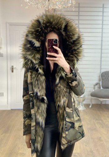 Elise Khaki Mix Colours Faux Fur Hooded Camo Coat