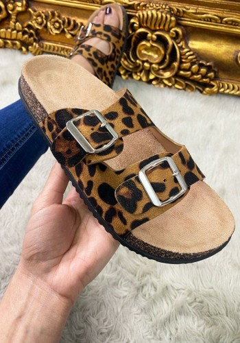 Roka Leopard Faux Suede Double Strap Buckle Detailed Sliders