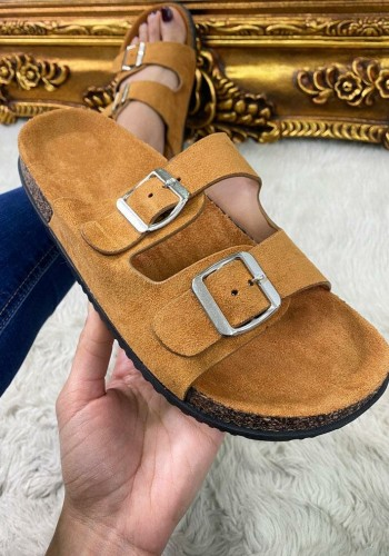 Ermina Plain Faux Suede Double Strap Buckle Detailed Sliders