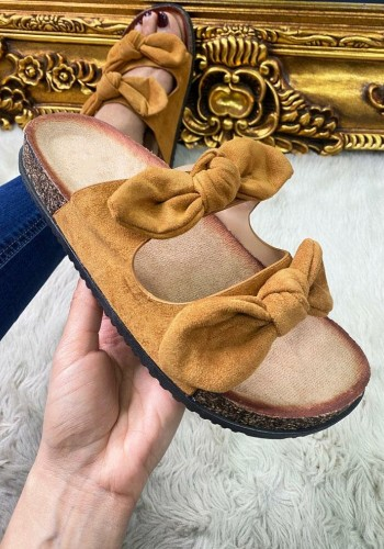 Franklin Faux Suede Bow Strappy Sliders